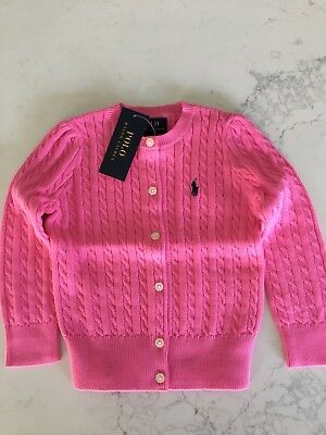 Ralph Lauren Girls Cable Knit Cardigan Size 2 BNWT