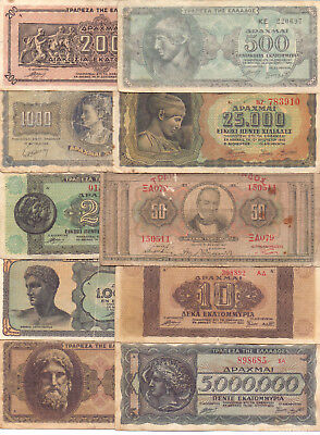 Greece  - 10 Different Greek Banknotes (Lot-11)