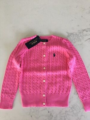 Ralph Lauren Girls Cable Knit Cardigan Size 4 BNWT