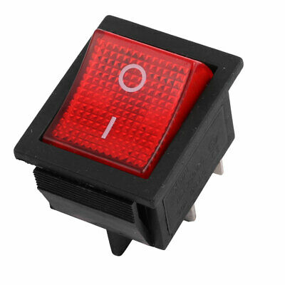 AC 250V 16A 125V 20A Red Lamp DPST ON-OFF 4pin Snap in Rocker Boat Switch