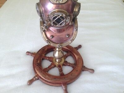 Antique Brass 10 inch Divers Helmet/Ships Wheel Lamp or Tabletop Piece.