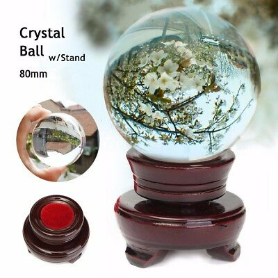 UK 80mm Clear Asian Quartz Magic Photography Crystal Healing Ball Sphere + Stand