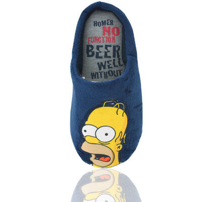 Mens Simpsons Blue Slip On Padded  Mule Slippers Great Gift Free P&p S-M-L