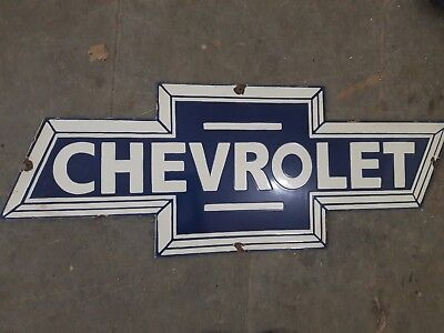 """Porcelain CHEVROLET Sign SIZE 35"""" X 14"""" INCHES"""