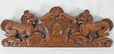 "Antique Carved Oak Wood 16"" Pediment Griffin Crest Architectural Carving"