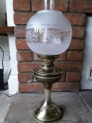 Attractive Large Duplex Double Oil Lamp In Excellent Condition.