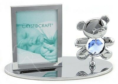 Crystocraft Photo Frame - Teddy Bear with Blue Swarovski Elements