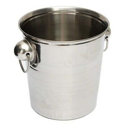 Silver Stainless Steel Ice Punch Bucket Wine Beer Cooler Champagne Cooler P U5T8