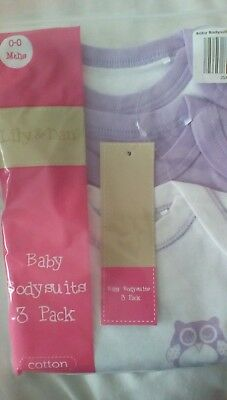3 brand new baby bodysuits newborn