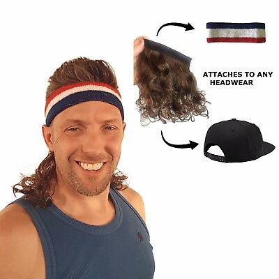 Magic Mullet - Wig Attaches to any Headwear - Mullet Headband - Free Head Band