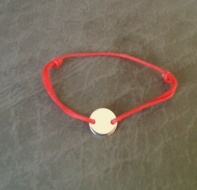 Lucky Red Cord Bracelet with sterling silver coin  for Baby, christening gift