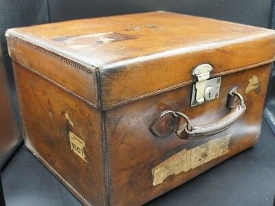 Beautiful English Square Leather Antique Top Hat Hat Box