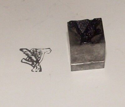 Vintage Printing Letterpress Metal On Metal Block Feather Pen And Writing Scroll