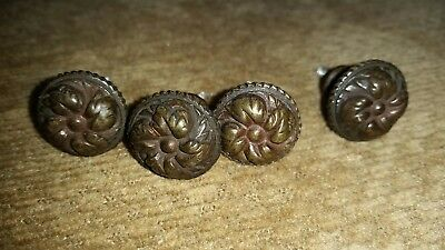 4 antique metal floral hardware drawer pulls knobs floral cast matching nice!!