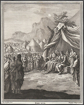 Moses Aaron in the Desert - Exodus Bible  - original Engraving 18th Century