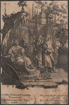Moses and the Pharaoh of Egypt Snake - original Engraving 18th Century