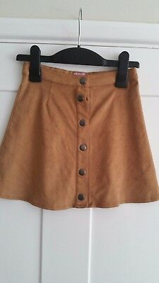 Girls tan suedette style material front button skirt from F&F Tesco age 6-7 yrs