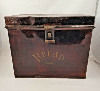 "1920's VINTAGE TIN METAL BREAD BOX  14"" x 10"" x 11""   4 lbs.   FREE Local Pickup"