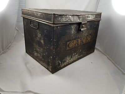 "1920's VINTAGE TIN METAL CAKE BOX  16"" x 12"" x 11""   7 lbs.   FREE Local Pickup"