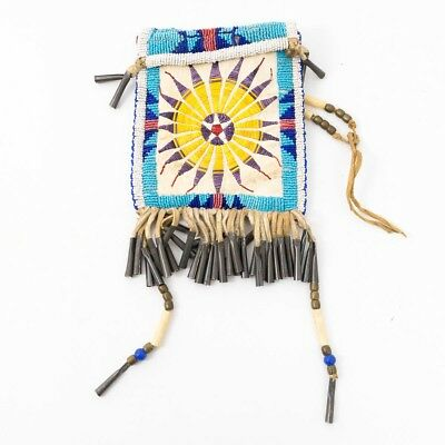 Unsigned Native American Indian Medicine Bag Double Sided Beaded Quill Leather