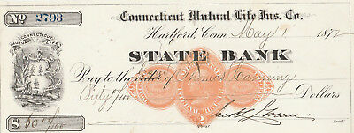 Connecticut Mutual Life Ins. Co. Hartford,   1872   Vignette & Revenue