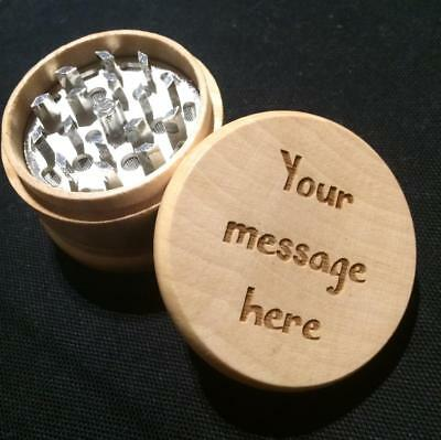 Personalised Engraved Wooden Square 2 Part Herb Grinder Metal Teeth