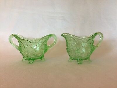 Green AVOCADO # 601 Indiana DEPRESSION GLASS Sugar & Creamer Free U.S Shipping