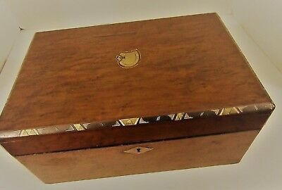 Antique Jewelry/sewing Wooden Mahogany Box Circa 1850 Mop Inlay Inlaid Burled
