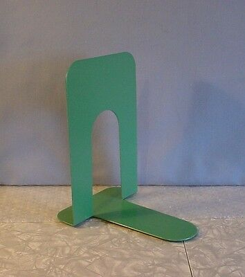 EXC! 1960s LARGE GREEN ENAMELED HEAVY DUTY METAL BOOK END with CORK BOTTOM