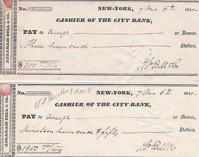 Two (2) 1841 Cashier Of The City Bank,, New York .  Checks