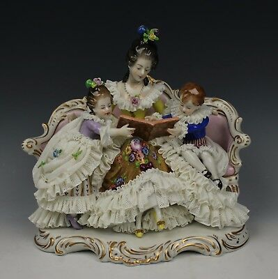 "Dresden Volkstedt lace figurine ""Mother Reading to Children"" AS IS"