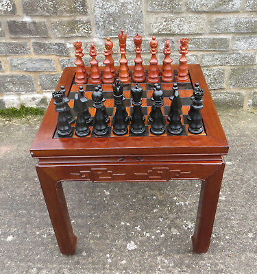 Wooden Games Table, Chess, Backgammon, Draughts - Oriental / Chinese Style