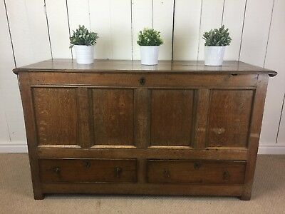 Solid Oak Coffer Trunk. Large Solid Wood Antique Trunk With Two Drawers.