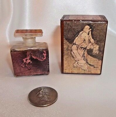 Antique Japanese Miniature Perfume Bottle In Wooden Case, Very Rare, Full, Look