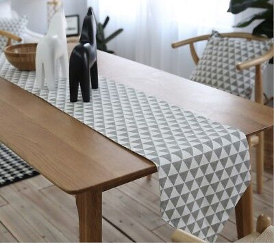 Scandinavian Geometric Grey White Triangle Table Runner Placemats Cushion Cover