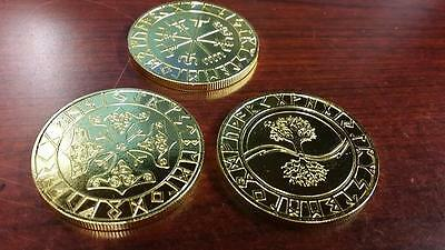 VALHALLA Collection VIKING Runes coin lot x 3 Thor Hammer Compass Talisman Raven