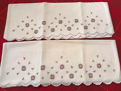 Hand Embroidered Pr Vintage PILLOWCASES French Knot Flower Clusters