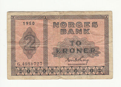 Norway 2 kroner 1950 circ. p16b @ low start