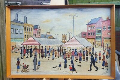 VINTAGE OIL ON BOARD BY g r Morrison? IN THE STYLE OF LOWRY