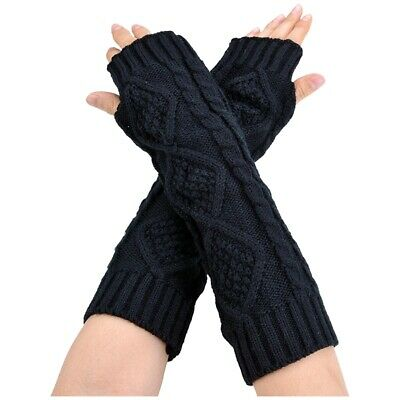Womens Cashmere Protection Knitted Wool Long Fingerless Arm Warmers Gloves J9Q2