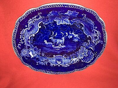Historical Staffordshire Dark Blue Platter With Deer By Adams Ca. 1825 Mint