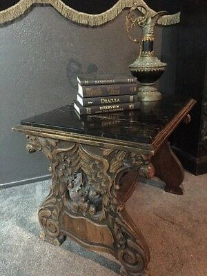 Antique Gothic Carved Griffin Gargoyle Marble Top Renaissance Coffee Table