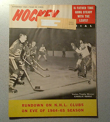 Hockey Pictorial Sept 1964 Johnny Bower Leafs, Charlie Hodge, Bobby Hull, Howe""