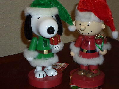 NEW Lot of 2 Peanuts Snoopy & Charlie Brown Wooden Nutcrackers