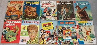 LOT of 10 DELL Four Colors. I Love Lucy, Dollface, Dr.Bobbs, Rhubarb, Crusaders+