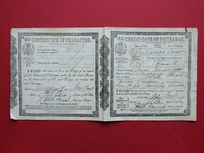 "1869 Certificate Of Discharge ""s.s.""alford"" (1863) Steam Ship, Sailor, Seaman."