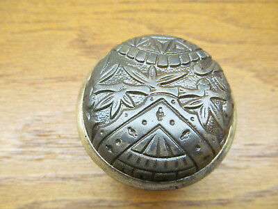 Old Eastlake ?? Door Knob .. Bamboo ?? Oriental ? Brass ? Bronze ? Band