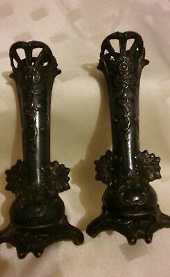 Pair Of Art Nouveau Metal Spill Vases