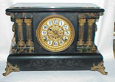 Unusual Color Antique Seth Thomas Adamantine Black mantel Mantle clock