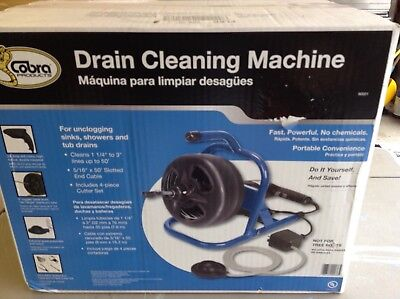 COBRA 50-ft Wire Drain Cleaning Machine / Plumbing Clog Opener / Auger 90021 NEW